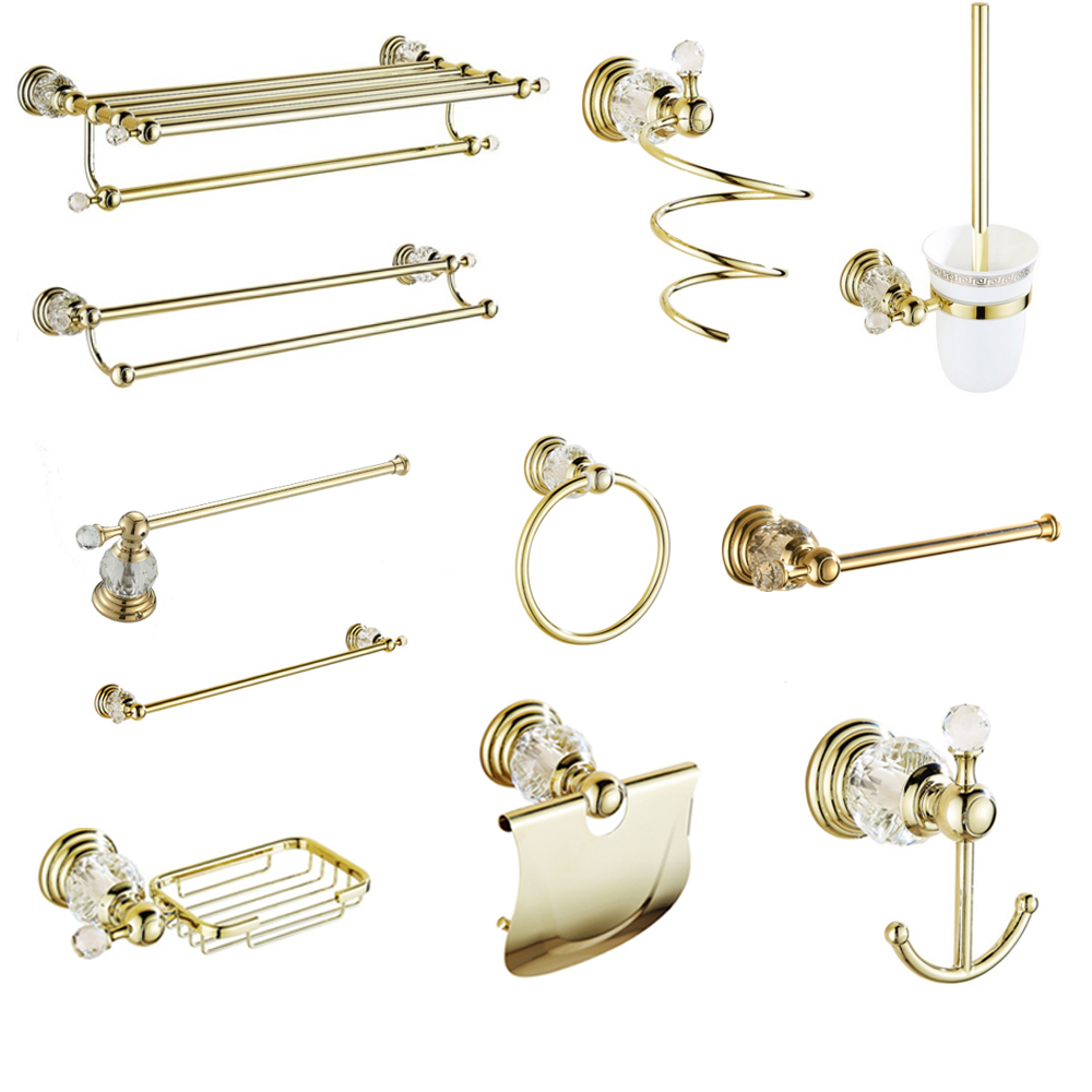 Antique Gold Polished Bathroom Accessories White Crystal Bath Decoration Bathroom Hardware Set