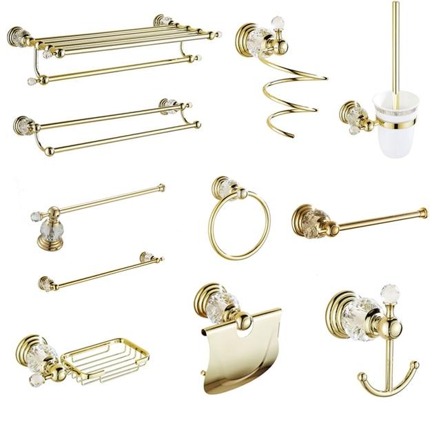 Antique Gold Polished Bathroom Accessories White Crystal Bath Decoration Bathroom Hardware Set Solid Brass Bathroom Products HW