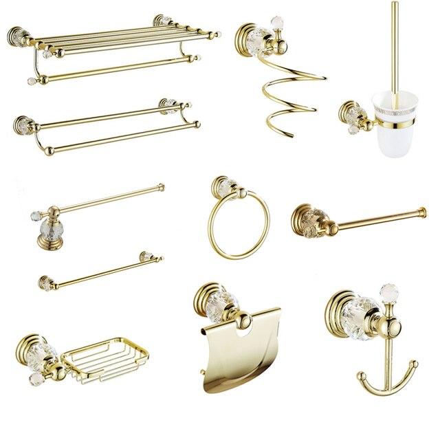 € 24.3 16% de réduction|Antique or poli salle de bains accessoires blanc  cristal bain décoration salle de bain matériel ensemble en laiton massif ...