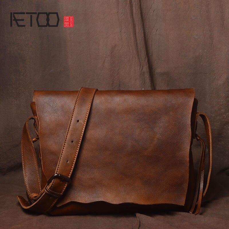 AETOO Retro handmade originale personalità semplice borsa a tracolla da uomo  pelle conciata al vegetale pelle bovina messenger bag in pelle casual  postino ... 0f03a6f9ed3