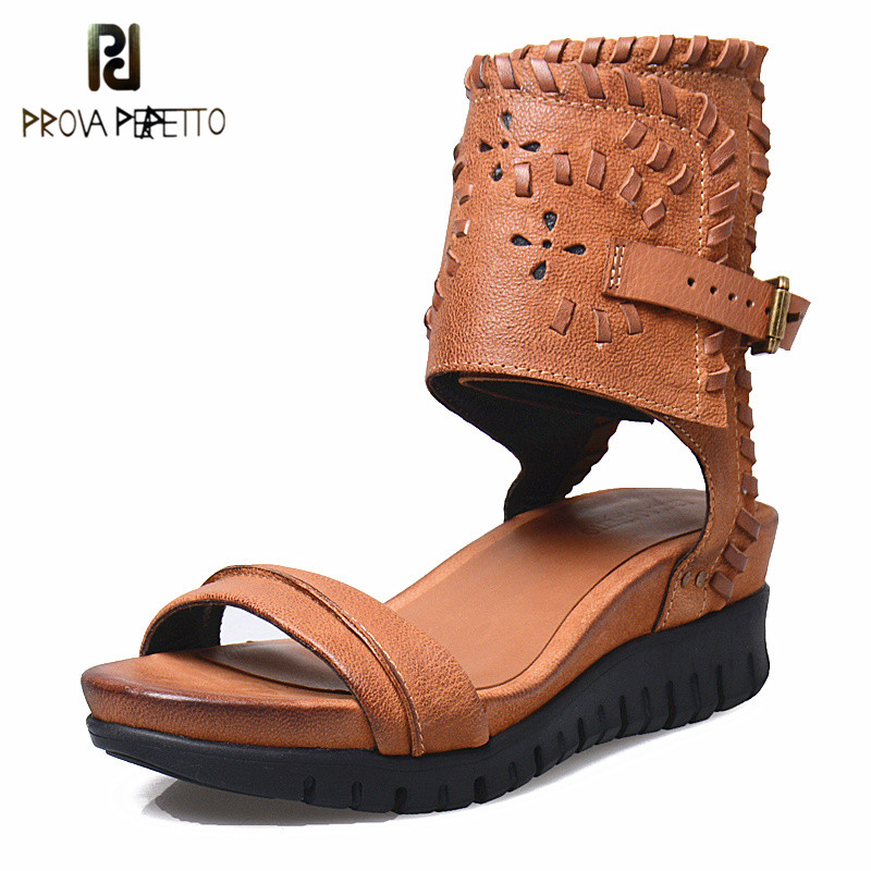 Prova Perfetto 2018 Wedge Shoes Sandals New designer Thick Bottom Buckle Strap Sandals Peep Toe Platform Rome Style female Shoes скутер на радиоуправлении zapf creation baby born