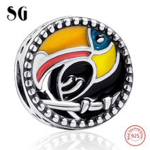 Woodpecker Enamel Charms Bead Girl Toco Toucan Bird Charms 925 Silver Beads Fit Authentic pandora Bracelet Women Jewelry gifts 2018 new 925 sterling silver red enamel bikini charms beads fit authentic pandora bracelet charms beads jewelry for women gifts