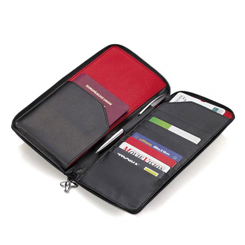 Moderne-luxe marque 100% vache en cuir véritable hommes voyage portefeuilles passeport titulaire passeport couverture porte-carte organisateur