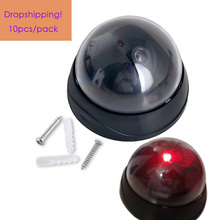 Dropshipping 10pcs/pack 3.54″ Dummy Security Camera Fake Dome CCTV Camera Indoor Outdoor Red LED Flashing Light Home Security