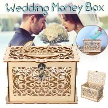 Деревенская коробка для свадебных карточек с замком DIY свадебный подарок держатель для карт Деревянный чехол для денег на день рождения Вечеринка Детский душ украшение
