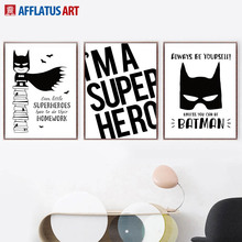 AFFLATUS Superhero Batman Wall Art Print Canvas Painting Nordic Poster Black White Pictures For Living Room Kids Decor