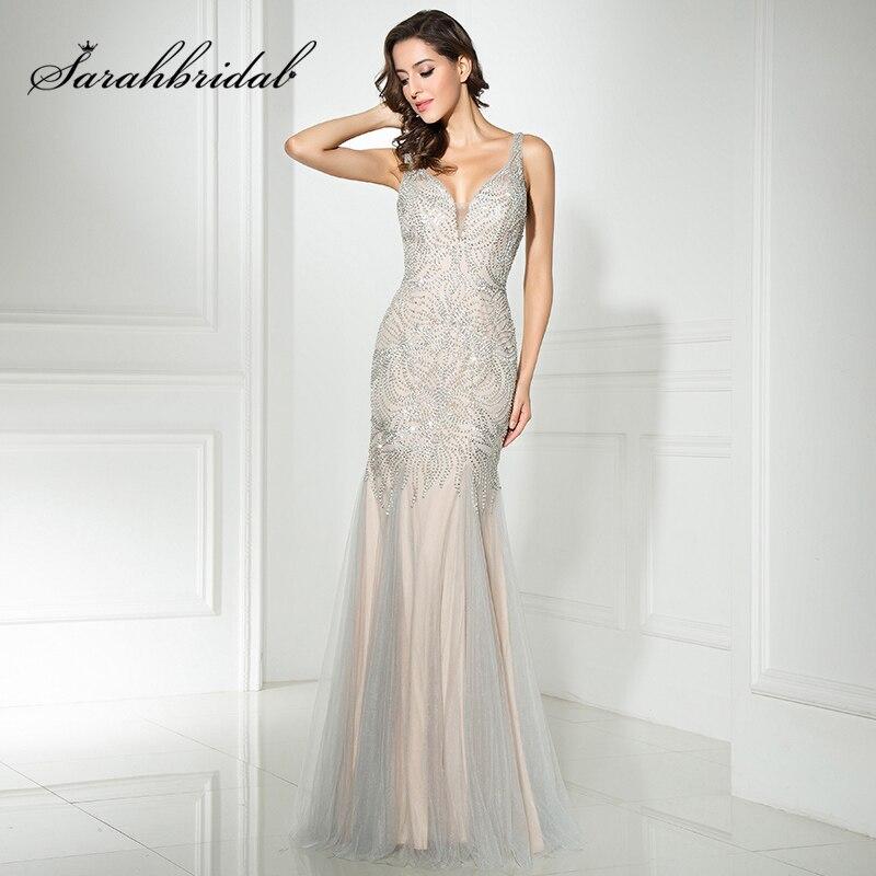 Luxury Sliver Beading Evening Dresses New Arrival Real Shining Sequin V Neck Long Tulle Mermaid Prom