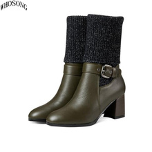 WHOSONG Women boot fall/winter leather Ankle wool knit zipper shoe fashion Martin m41