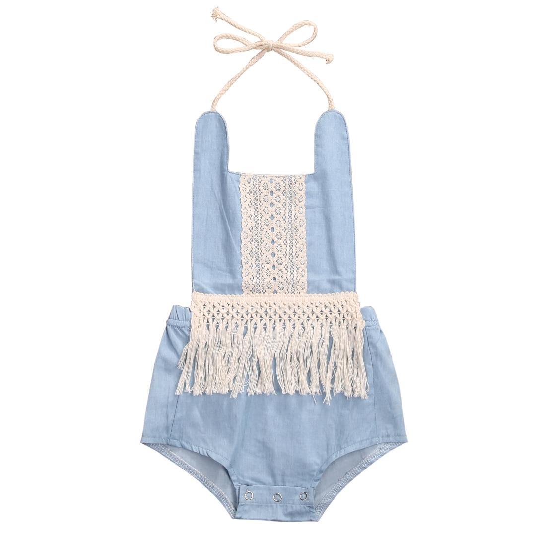 Newborn Baby Kids Girls Denim Tassel   Romper   Jumpsuit Outfits One-pieces