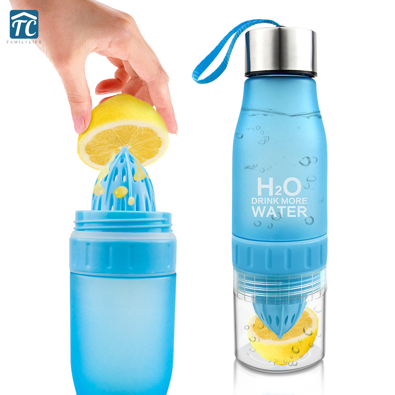 650ml Water Bottle Plastic Fruit Infusion Drink Outdoor Sports Juice Portable Drinkware Hiking Kettles Leak-proof Camping