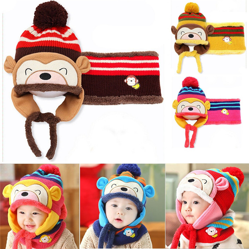 Friendly 1pc Winter Ear Flap Warm Hat Bebe Hat With Scarf Beanie Cap Monkey Kids Winter Cap Children Fashion Headwear For Boys Girls Mother & Kids Scarf, Hat & Glove Sets