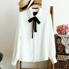 Plus size Bowknot White Long sleeve Button Shirt Women Bottoming Harajuku Tops Chiffon Blouse Blusa Feminina