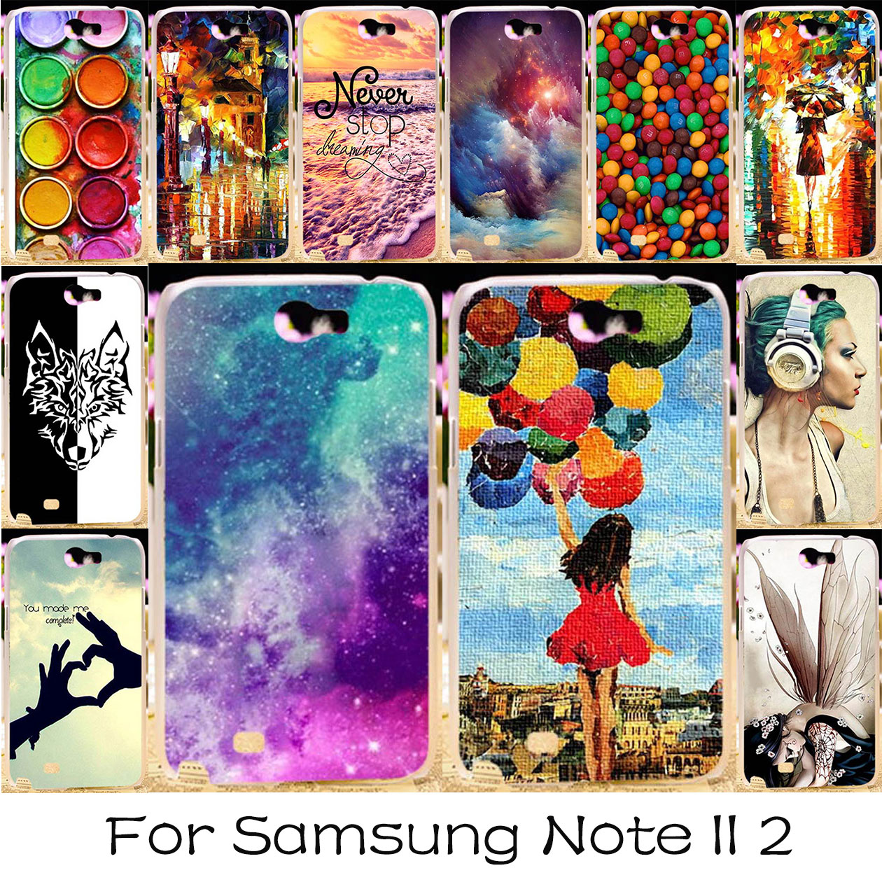 TAOYUNXI Plastic DIY Painted Phone Cover Case For Samsung Galaxy Note 2 Note II N7100 Bag N7105 Note2 NoteII 7100 Case Covers ...