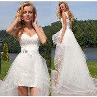 Eightree Detachable Train Beach Mini Wedding Dress Sheer Sweetheart Neck Backless Short skirt vestido De Novia Lace Bridal Gowns