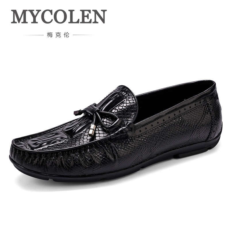 MYCOLEN Comfortable Handmade Leather Shoes Casual Men's Flats Design Man Driving Shoes Soft Bottom Leather Loafers Men Shoe split leather dot men casual shoes moccasins soft bottom brand designer footwear flats loafers comfortable driving shoes rmc 395