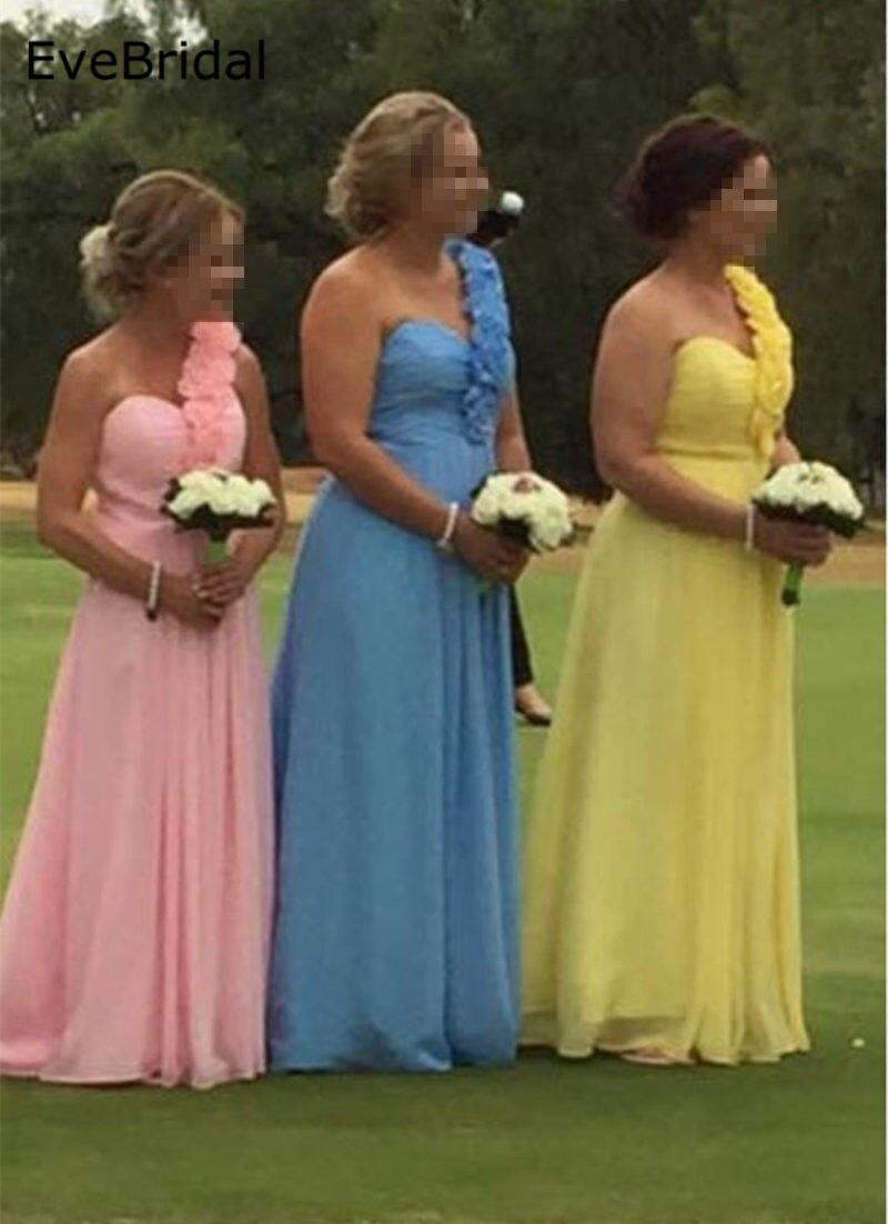 Õhtukleitide hulgimüük Ametlikud kleidid Uus Stock 11 värvi Chffon A rida Üks õlg Lilled Suurus 4 6 8 10 12 14 16