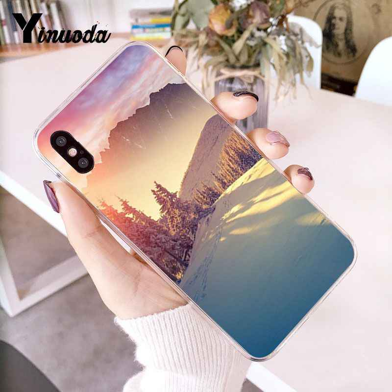 Yinuoda Đỉnh Núi Rừng núi Tuyết khói Trắng Mềm Mại Ốp Lưng điện thoại Iphone 6 6S 6 Plus 7 7 Plus 8 8Plus X XS MAX 5 5S XR 10