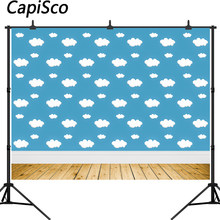 Capisco Blue Sky Clouds Backdrop Cartoon Kids Birthday Party Decorations Toy Story Photo Booth Background Dessert Table Banner(China)