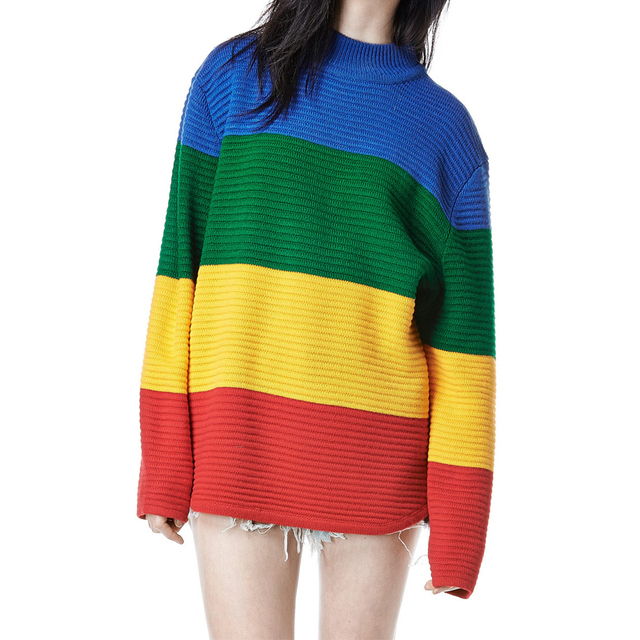 harajuku unif crayola sweater rainbow color block knitted loose oversized sweater jumper autumn winter women pullovers