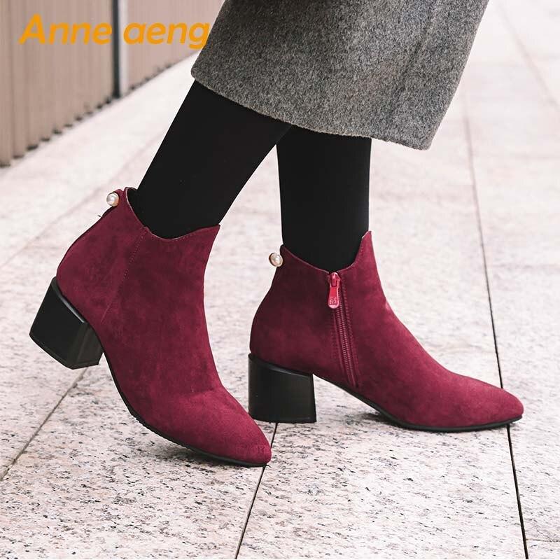 Zapatos Vino 43 Botines 33 Señoras Invierno Red Otoño Botas wine Nuevo Gray 2019 black Nieve Altos Tamaño Tacones Grande Puntiagudos Mujeres Rojo Zip w6q7F4C