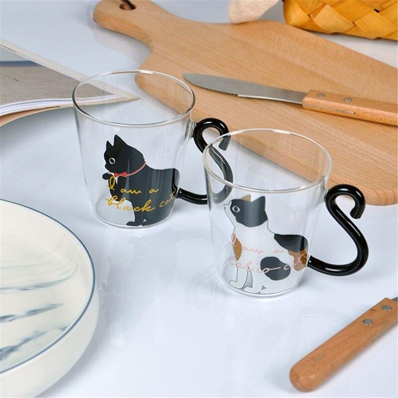 estilo japonês 3d gato impresso calor-resistente copo