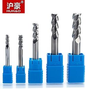 Image 1 - HUHAO Fresa de carburo sólido de 3 flautas, fresa CNC de aluminio HRC45, brocas de enrutador de acero de tungsteno, 1 unidad