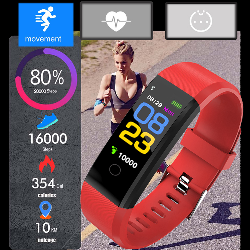 2019 Smart Band Men Women Heart Rate amp Blood Pressure Wristband Fitness Bracelet Calories Sports Watches for Android pk fitbits in Women 39 s Watches from Watches
