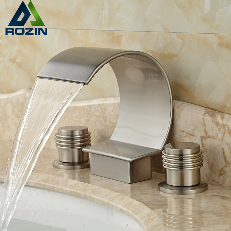 Luxury C Shape Waterfall Spout Basin Faucet Double Handles Bathroom Mixers Hot Cold Water Taps zipower pm 5103