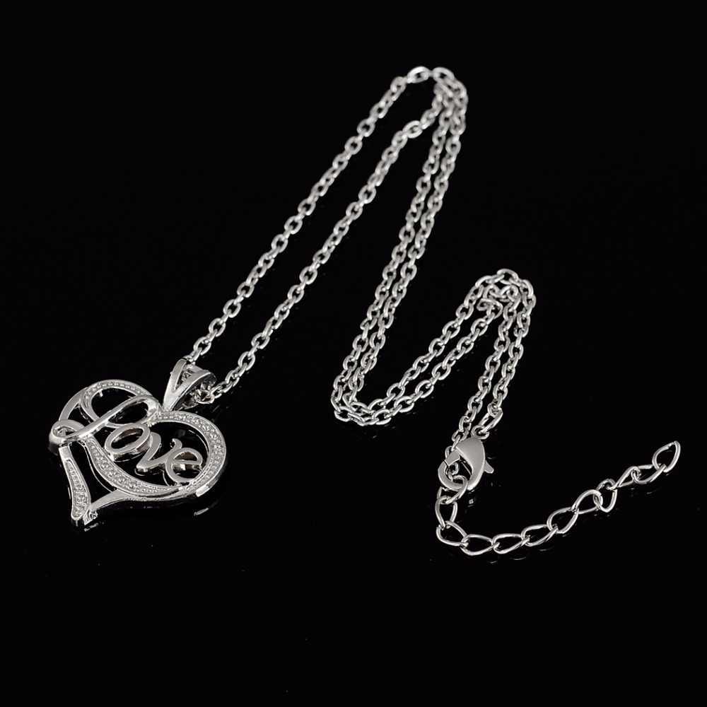 Haczyk wędkarski miłość dla pary miłość wisiorek w kształcie serca naszyjniki srebrny złoty kolor biżuteria dla Womwan