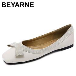 BEYARNE 2019 балетки женские туфли на плоской подошве Дамская обувь со стразами zapatillas mujer 2019 из искусственной кожи обувь без застежек на плоской