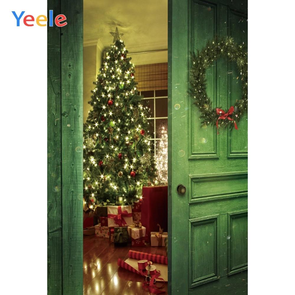 Yeele Photography Backdrops Dreamy Interior Baby Wreath Christmas Tree Wood Door Photographic Backgrounds For The Photo Studio