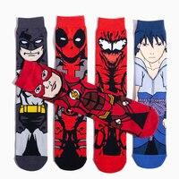 (Five Pairs) Batman Flash Sasuke Deadpool Avengers Autumn Winter Socks Stockings Men Cosplay Accessories Christmas For Leisure