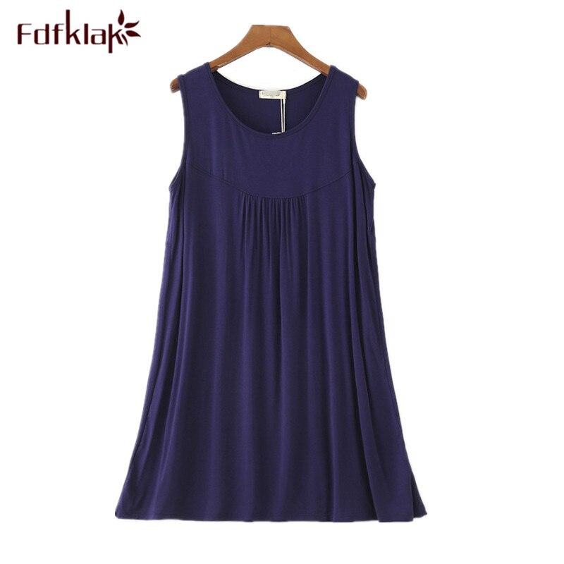 23dca9833 Fdfklak New sexy mulheres camisola de algodão sem mangas vestido de noite  das mulheres pijamas de verão feminino camisola tamanho grande roupas em  casa