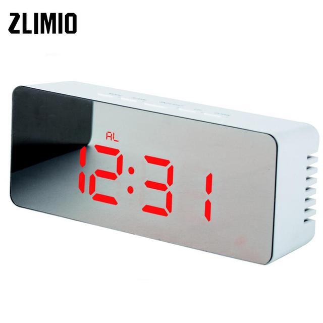 f7ad9760eee Multifunções LED Espelho Relógio Despertador Mudo Relógio Digital Time  Display Led Alarme Relógio De Mesa Relógio