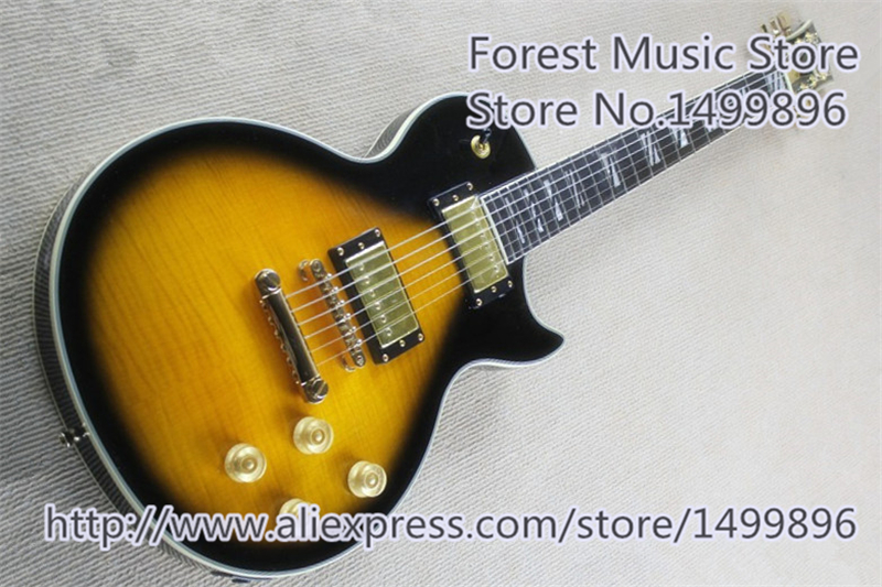 Hiqh Quality Vintage Sunburst Tiger Flame Finish LP Electric Guitar With Gold Hardware In Stock