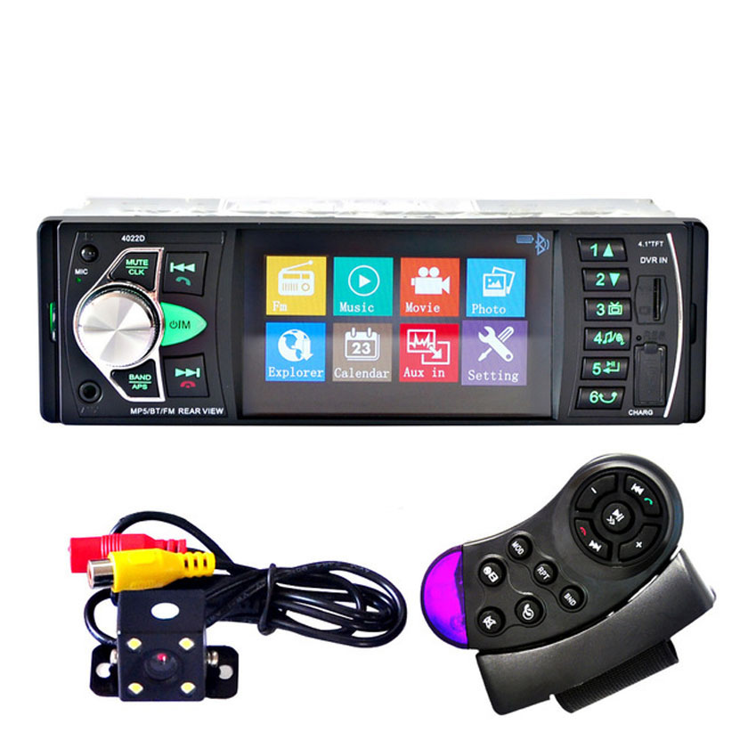4020D 4.1 inch 1 Din Car Radio Audio Stereo USB AUX FM Radio Station Bluetooth with Rearview Camera Automobiles automagnitol