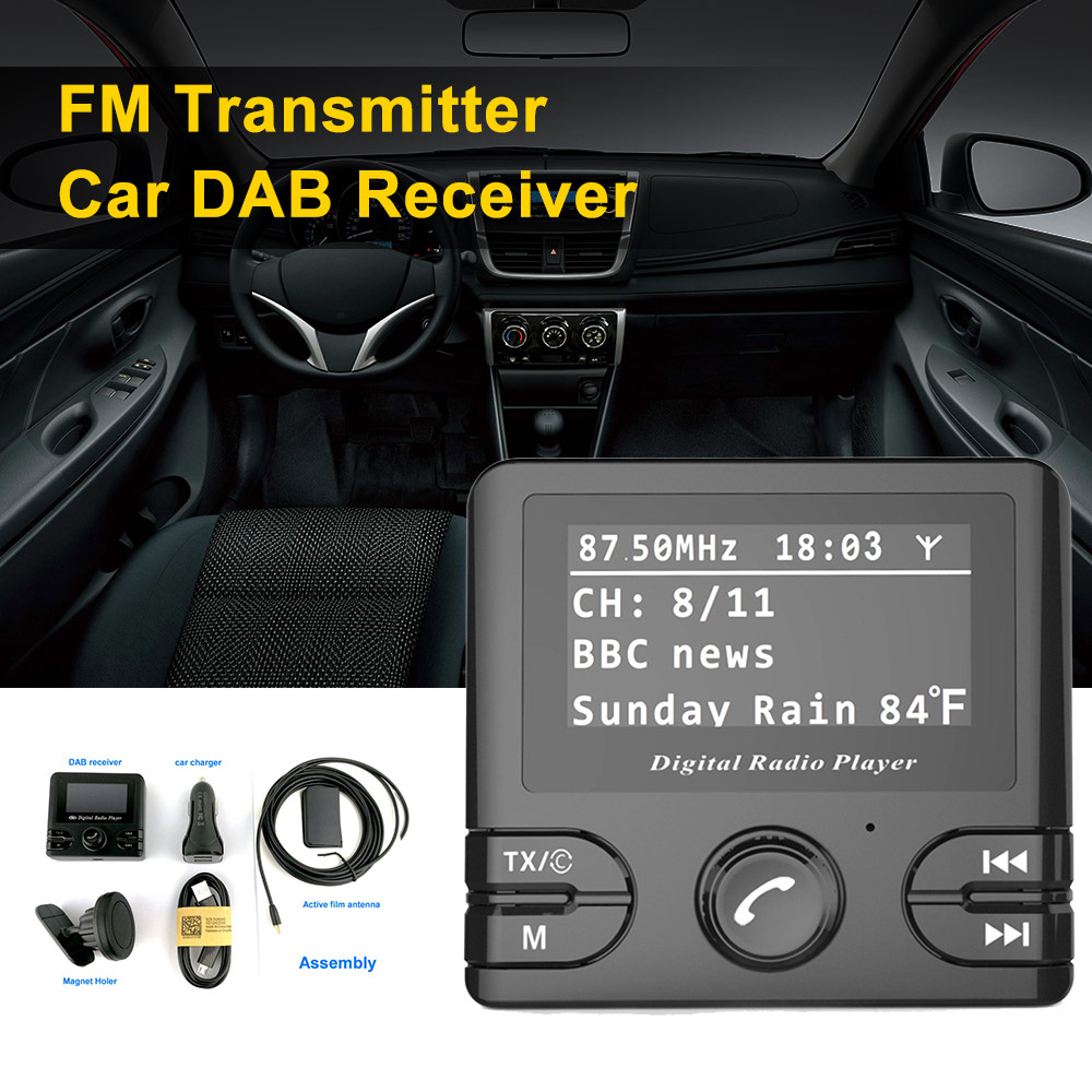 2.4 LCD Car DAB Receiver Tuner FM Transmitter Adapter Antenna USB Plug and Play CT With Car Charger dab tuner with fm transmitter antenna car radio receiver dab converter plug and play car music player with 5v 2 4a usb charger