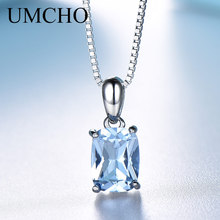 UMCHO Solid 925 Sterling Silver Pendants For Women Rectangle Luxury Sky Blue Topaz Engagement Wedding Pendant Charm With Chain