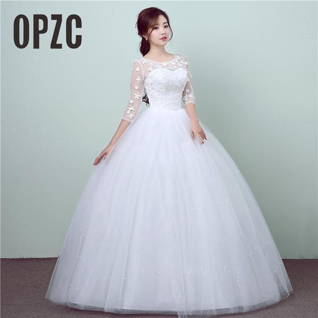 New Style Lace 3 Quarter Wedding Dress Korean Simple Chinese Sweet Gown Princess Bridal