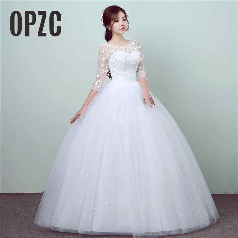 New Style Lace 3 Quarter Wedding Dress Korean Style Simple Chinese Sweet Wedding  Gown Princess Bridal f7db293faadd