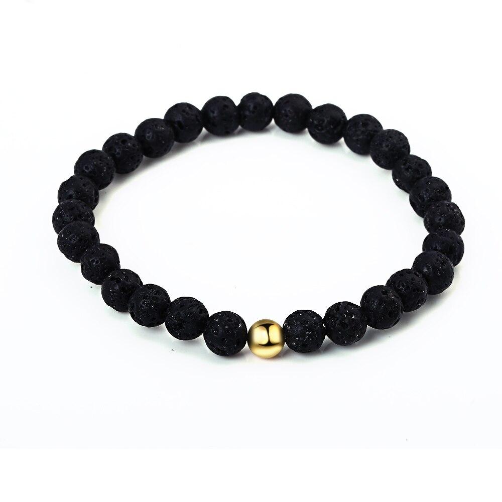 Black Natural Volcanic Stone Beaded Bracelets Women DIY Jewelry Gold Metal Beads Strand Bracelets Friendship Charm Bracelets