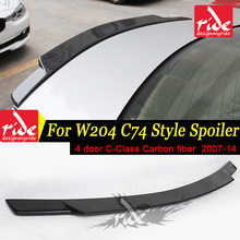 W204 C74 Style Carbon Fiber Rear Trunk Spoiler For Mercedes Benz C Class W204 4 - Doors 2007-2014 C180 C200 C250 C300 C350 Sedan amg style for mercedes w204 amg carbon fiber spoiler 2008 2010 2011 2012 2013 2014 c class w204 carbon spoiler 4 door sedan