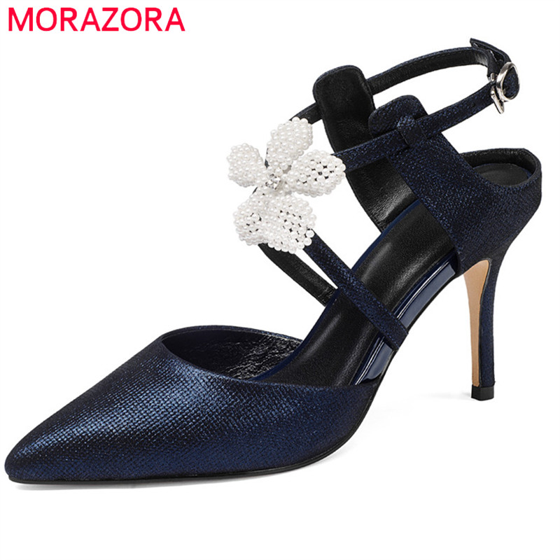 MORAZORA 2018 hot sale women sandals pointed toe summer shoes flower buckle party wedding shoes sexy thin high heels shoes hot 2016 new fashion t strap buckle pumps women high heels ladies sexy pointed toe summer party wedding patchwork shoes sandals