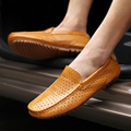 Brand Men's Flats Cow Leather Drivers Loafers Shoes Breathable Moccasins Shoes For Man Fashion 2017 Mens Casual Shoe Soft Rubber