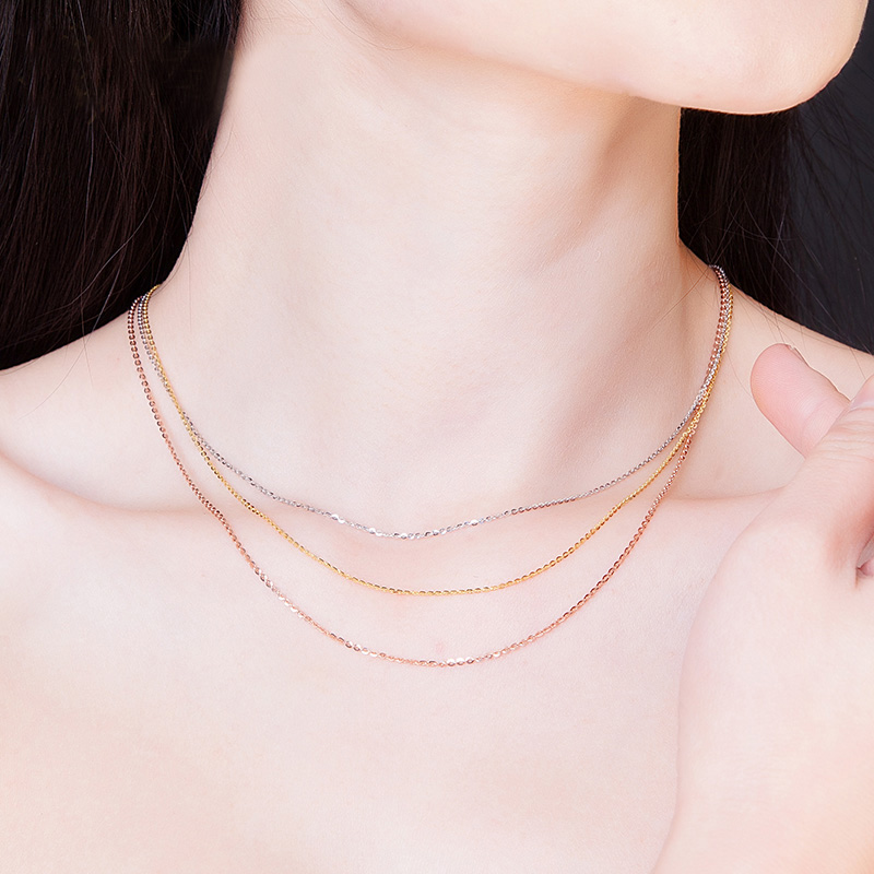 Image 3 - FENASY Genuine 18K Yellow Rose Gold Chain Cost Pure 18K white Gold Necklace for love Best Gift For women tendy necklaces-in Necklaces from Jewelry & Accessories