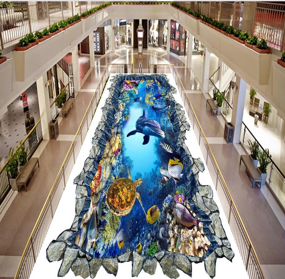 3d floor painting wallpaper Underwater world 3D three-dimensional painting floor outdoor painting 3d flooring 3d floor painting wallpaper leaves cobblestone 3d flooring waterproof wallpaper for bathroom 3d floor 3d wallpaper