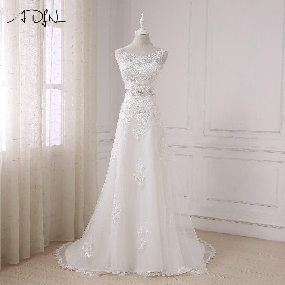 ADLN Scoop Lace Wedding Dresses with Rhinestones vestido branco Custom Made Beaded Plus Size A line