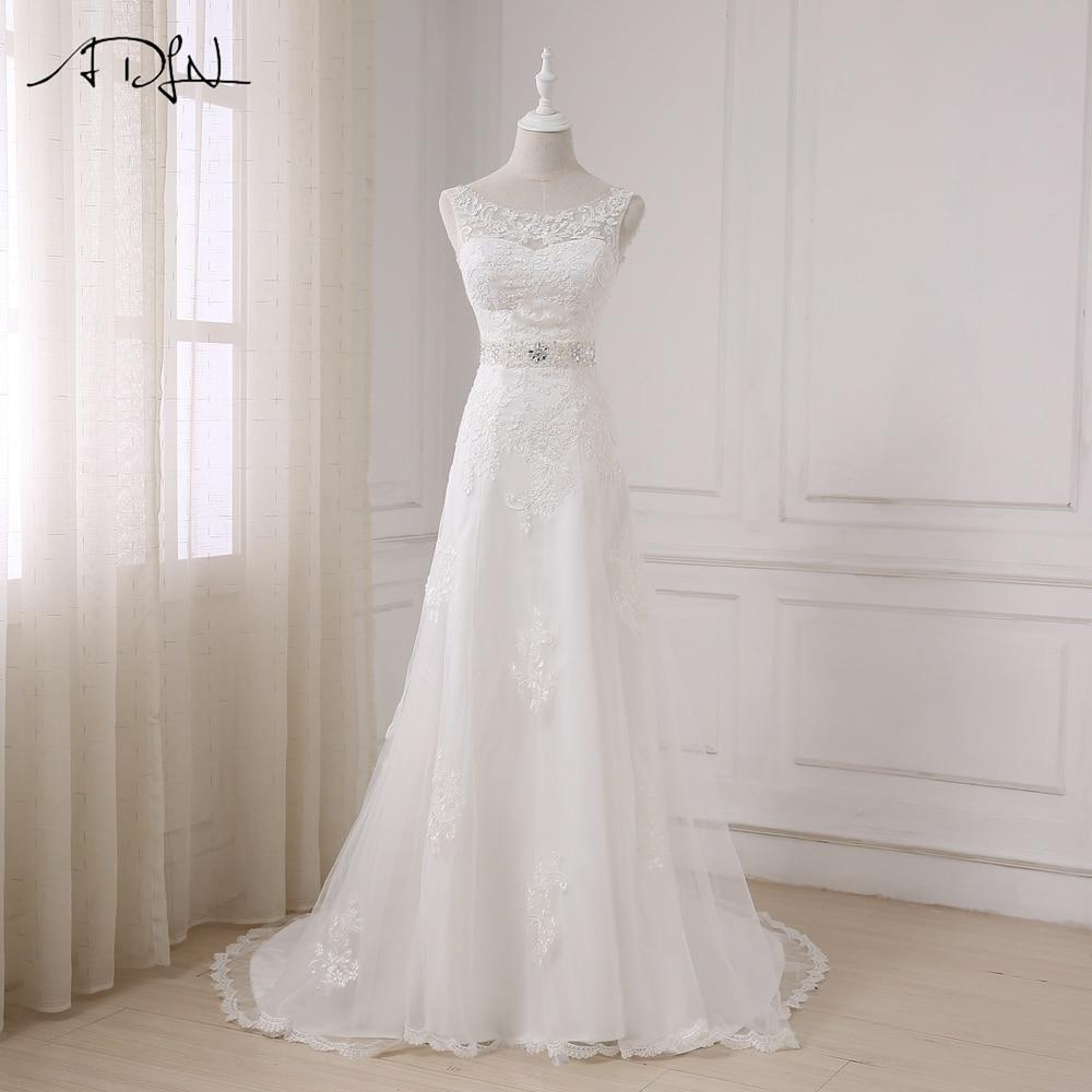 ADLN ساحة خط العنق قصير الأكمام فساتين - فساتين زفاف