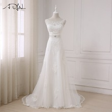 ADLN Square Leher Lengan Pendek Empire Wedding Dresses dengan Rhinestones Custom Made Chiffon Bridal Gown Robe de Mariage