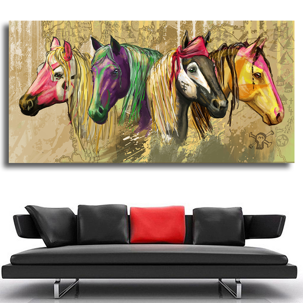Wall Art Modern Horse Abstract Oil Paintings Wall Painting Home Decorative Art Pictures Paint On Canvas Prints No Frame